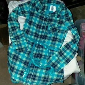 Justice girls 10 blue plaid button down top